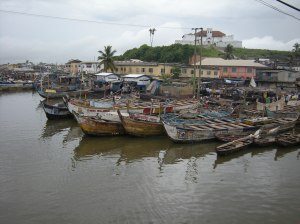 Fishing boats in the coastal port of Elmina, Ghana. Photo by Barbara Borst