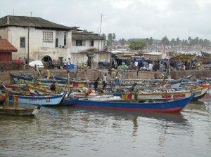 Fishing boats on Ghana's coast at Elmina. Photo by Barbara Borst