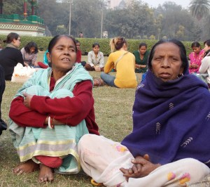 Sita Debi, left, in a turquoise shawl, and Sandhya Das both work as maids today, after years in prostitution in Kolkata. Photo by Barbara Borst