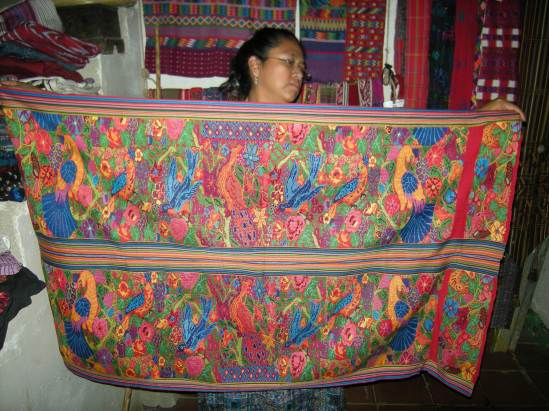 Maya traditional weaving incorporates multiple symbols in an elaborate pattern. Photos by Barbara Borst
