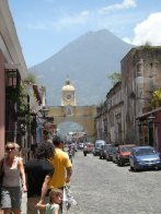 Antigua, Guatemala, once a Spanish capital of Central America, sits below Agua volcano.