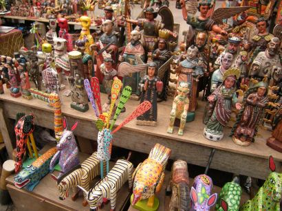 Angels, animals and other figures mix in the market at Chichicastenango.
