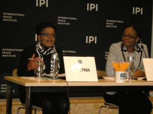 Beatrice Mtetwa, left, speaking about Zimbabwe at the International Peace Institute, with Mireille Affa'a-Mindzie of IPI. Photo by Barbara Borst