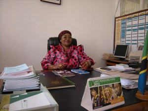 Kudra J. Mwinyimvua, regional administrative secretary for the Tabora region of Tanzania, in her office.