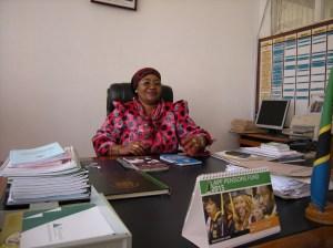 Kudra J. Mwinyimvua, regional administrative secretary for the Tabora region of Tanzania, in her office.