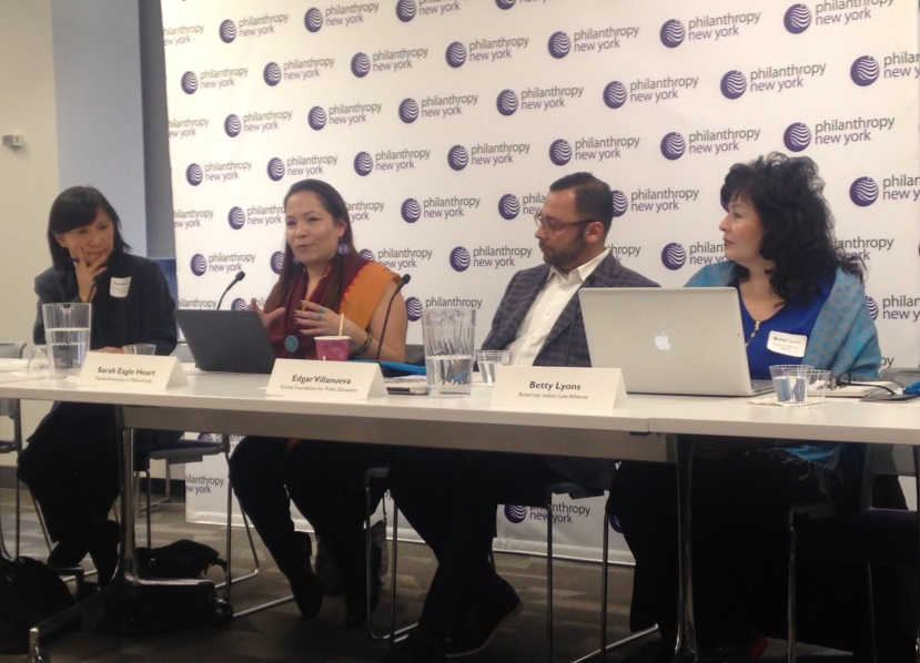From left to right, moderator Patricia Eng, and panelists Sarah Eagle Heart, Edgar Villanueva, and Betty Lyons discuss post-election realities for indigenous populations, at an event held by Philanthropy New York on February 2. Photo by Clare Church